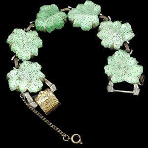 Vintage Judy Lee Art Glass Leaf Bracelet